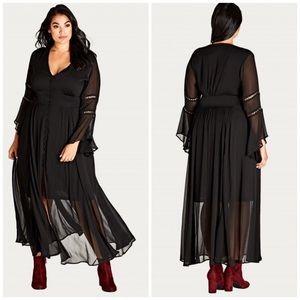 NWT City Chic Boho Sheer Maxi Dress